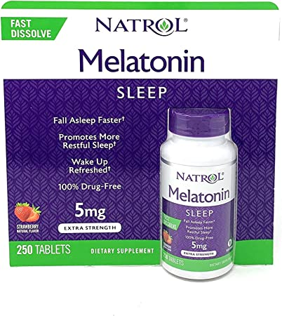 Natrol Melatonin 5 mg, Strawberry Flavor, Fast Dissolve Tablets, 250 Count