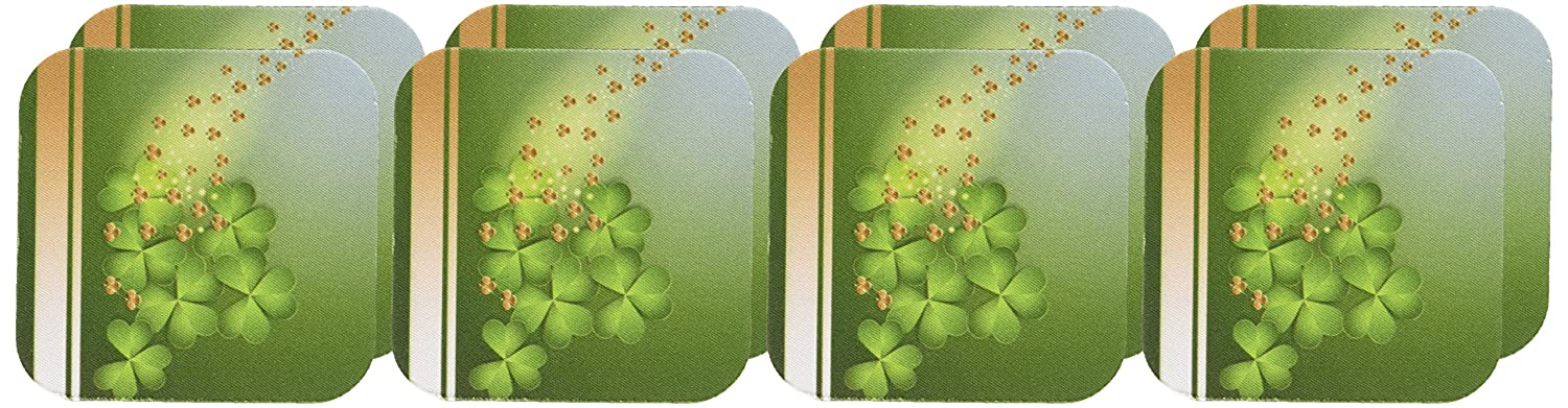 Set of 8 3dRose CST/_180869/_2 Beautiful Green and Gold Shamrock Soft Coasters