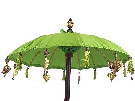 Guru-Shop Paraguas Ceremonial, Paraguas Decorativo Asiático - Limón, Verde, Paraguas Para