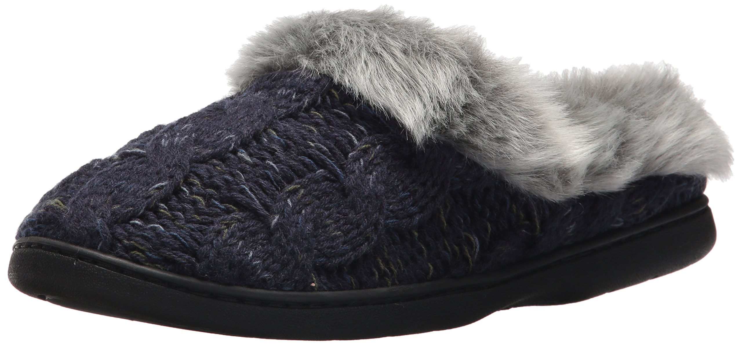 Dearfoams Women's Cable Knit Clog with Space-Dye,Peacoat,XX-Large