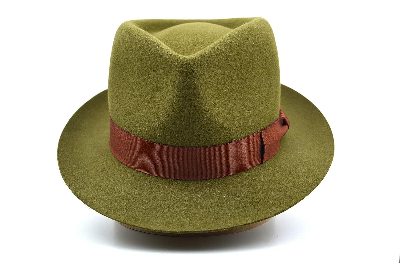 3c0862ac44292 Amazon.com: The Colombo - Rabbit Fur Felt Trilby Fedora Hat - Narrow Brim -  Men Women: Handmade