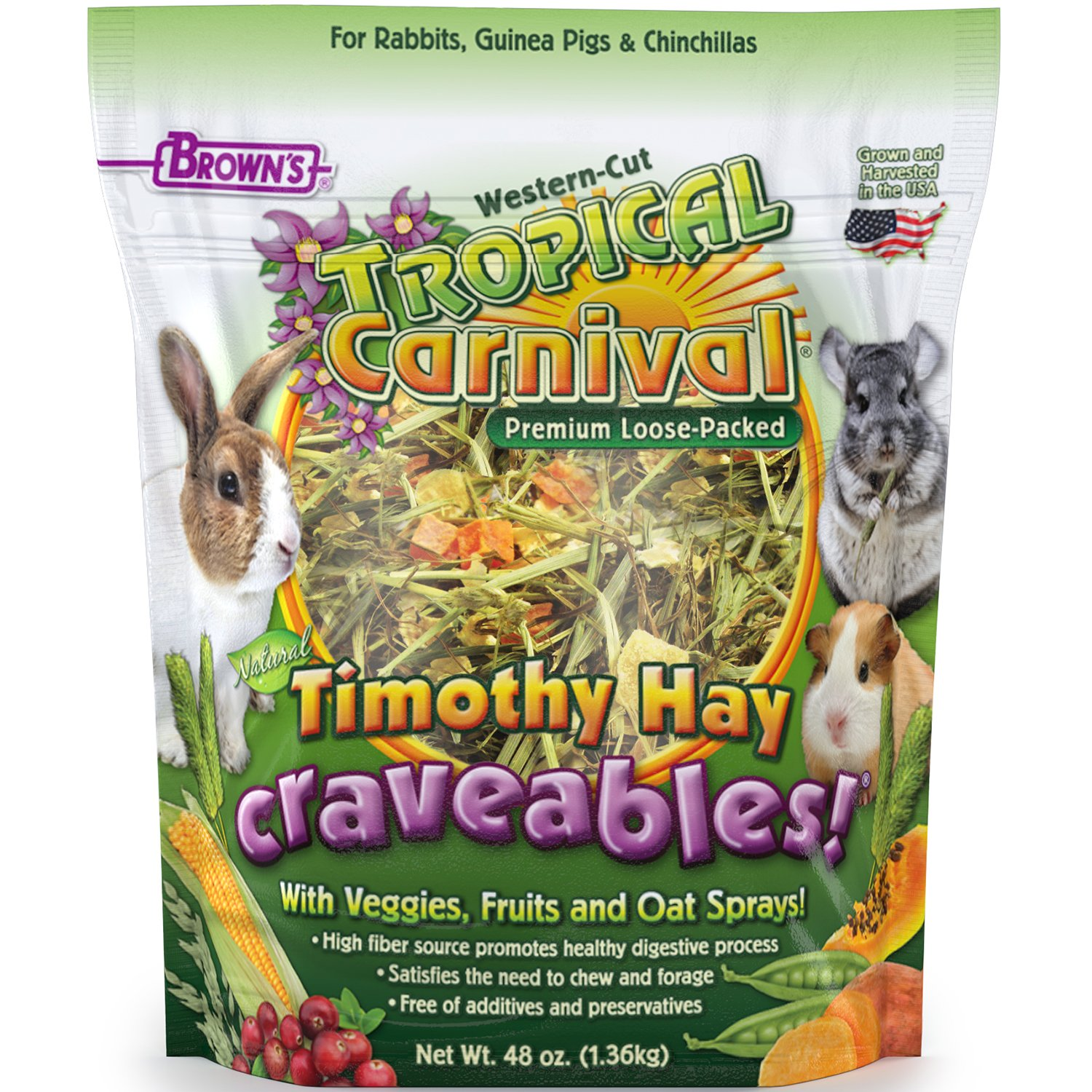 F.M. Brown's Tropical Carnival Natural Timothy Hay Craveables with Veggies, Fruits, and Oat Sprays, 48-oz Bag - Foraging Treat with High Fiber for Healthy Digestion by Tropical Carnival