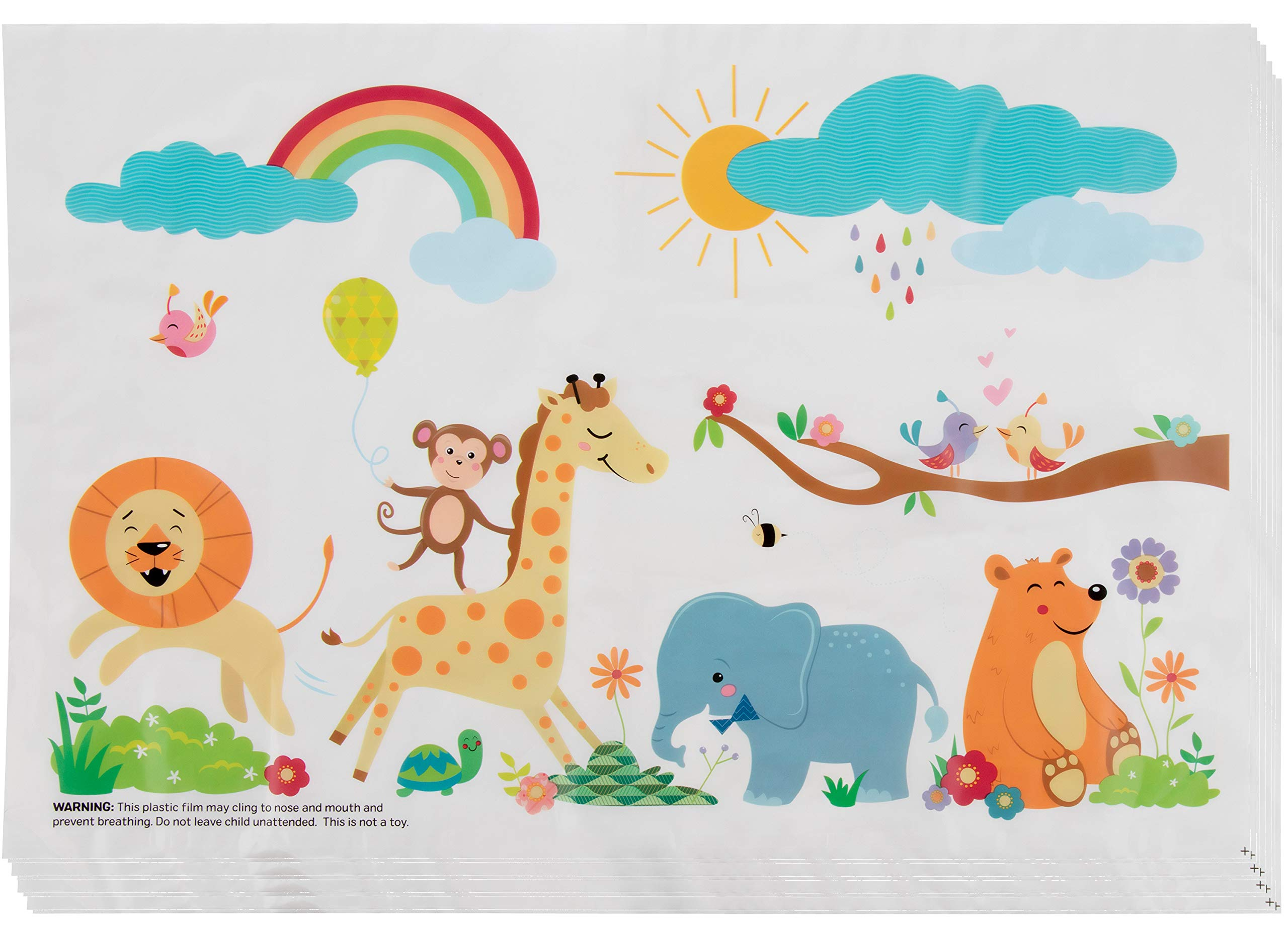 Safari Disposable Placemats - 100-Pack Baby Toddler Kids Table Top Mats, BPA-Free Self Adhesive Animal Themed Sticky Mats, Safe for Home and Restaurants, Foldable Design Easy Cleanup, 12 x 18 Inches by Juvale