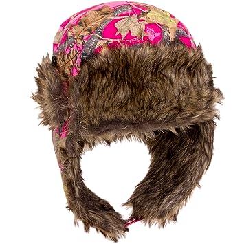 2c5401d6 Dakota Dan Mens Ear Flap Cap w/ Faux Fur Lining (Pink Camo): Amazon ...