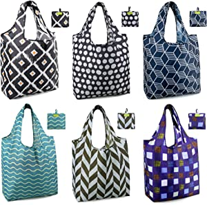 Shopping Bags Reusable Grocery Tote Bags 6 Pack XLarge 50LBS Ripstop Geometric Fashion Gift Bags with Pouch Bulk Waterproof Machine Washable Nylon Bags Black Gray Purple Navy Teal Brown