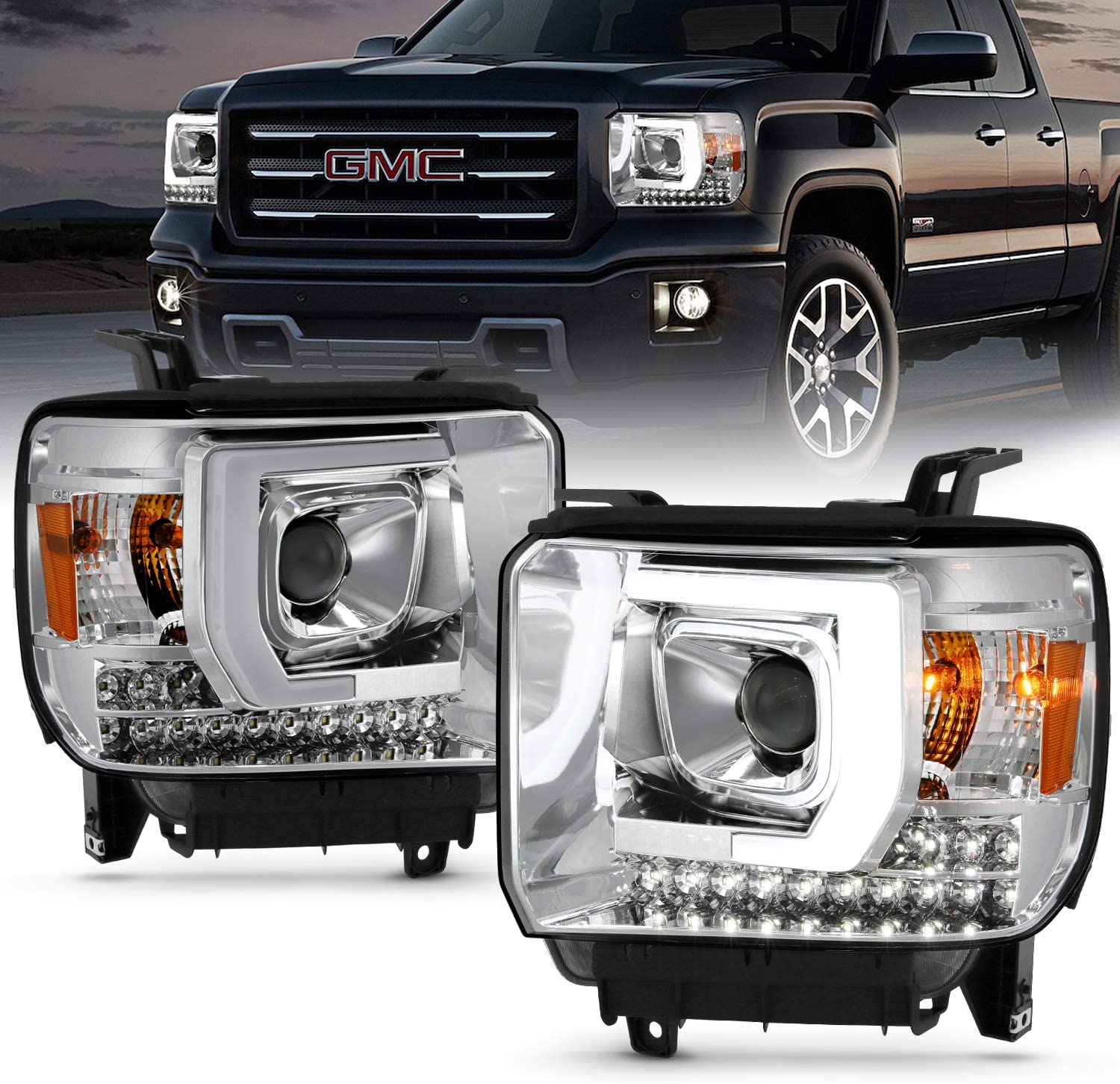 amazon com amerilite chrome projector headlights led drl bar for gmc sierra 1500 2500hd 3500hd driver and passenger pair automotive amerilite chrome projector headlights led drl bar for gmc sierra 1500 2500hd 3500hd driver and passenger pair