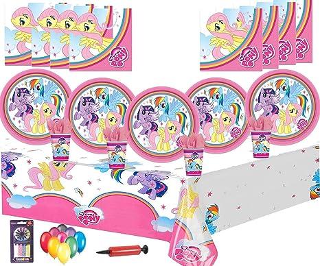 My Little Pony Party Supplies Fiesta de cumpleaños Decoraciones para vajilla 16 Guest Pack -Platos, copas, servilletas, manteles Globos gratis: Amazon.es: Juguetes y juegos