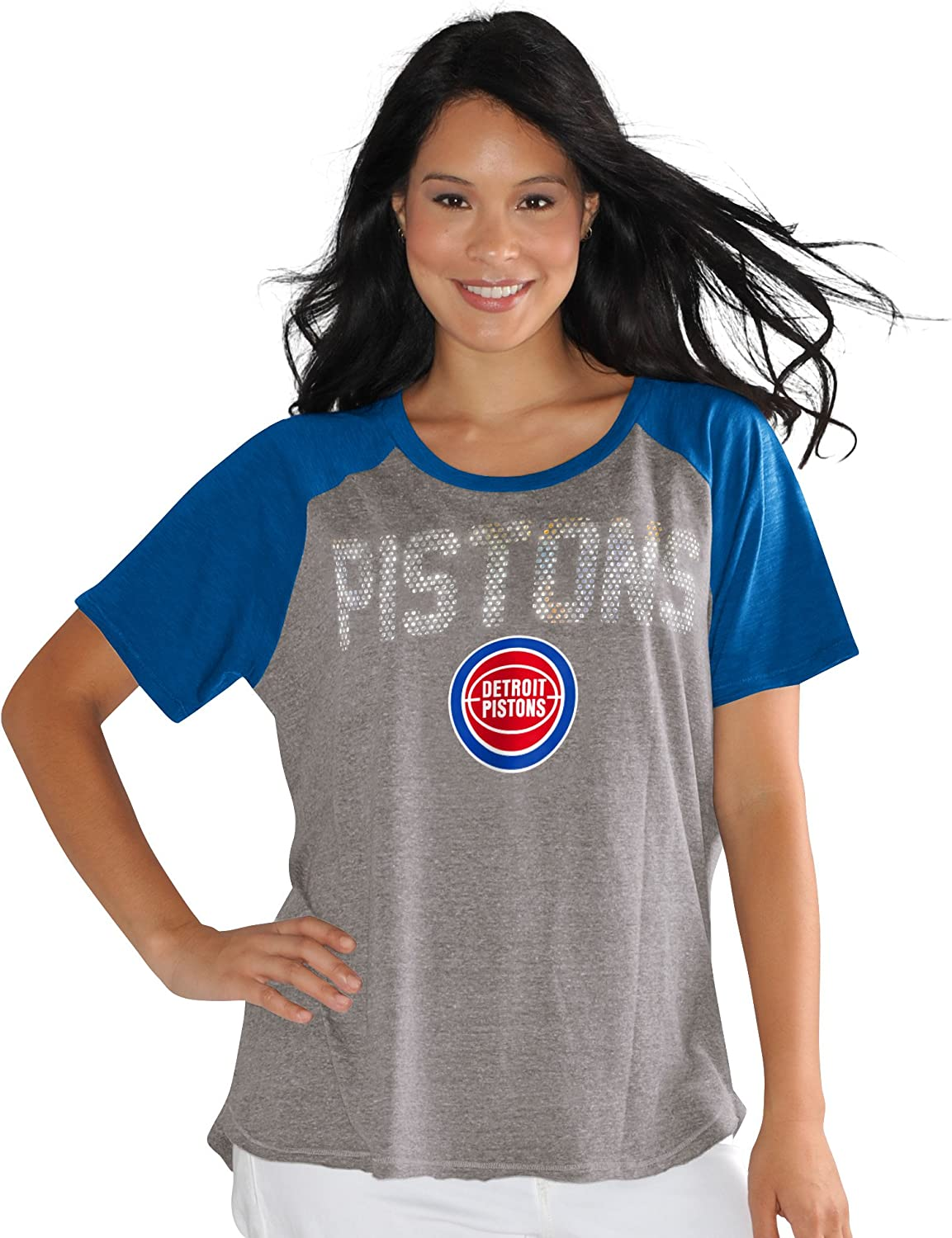 Touch by Alyssa Milano NBA Detroit Pistons Conference Tee Plus 1X Heather Grey