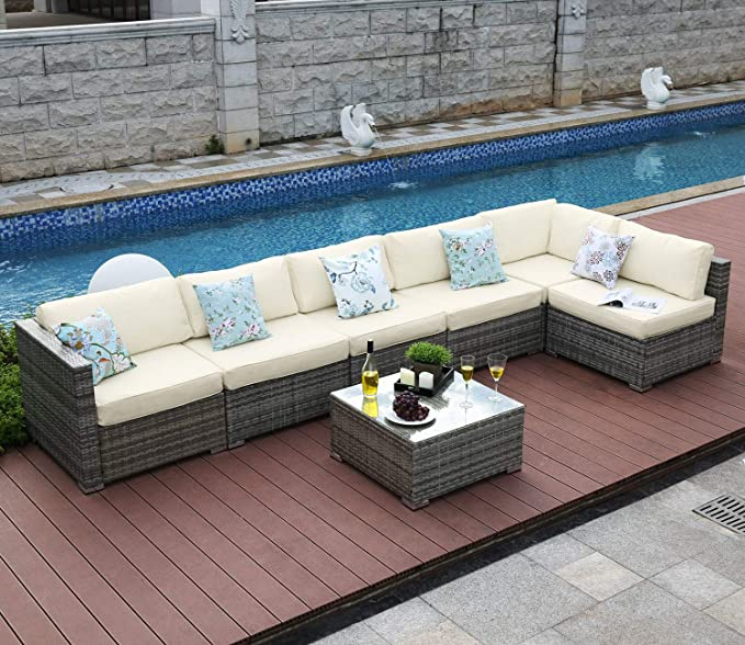 Amazon Com Tribesigns 7 Pieces Outdoor Patio Furniture Set Extra Large Sectional Sofa Wicker Rattan Couch Conversation Set With Waterproof Cushions And Glass Table For Deck Garden Backyard Beige Garden Outdoor
