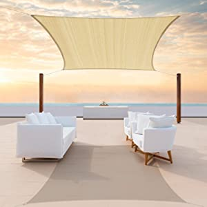 ColourTree 14' x 16' Beige Rectangle Sun Shade Sail Canopy Awning Fabric Cloth Screen - UV Block UV Resistant Heavy Duty Commercial Grade - Outdoor Patio Carport - (We Make Custom Size)