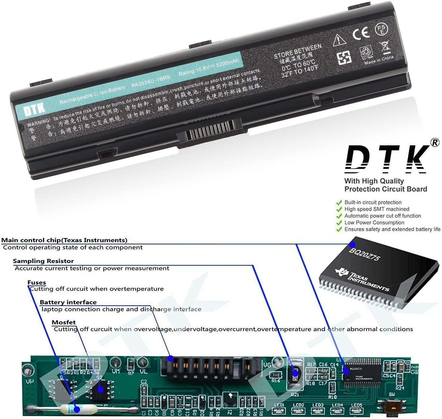 DTK PA3534U-1BRS PA3533U-1BRS PA3535-1BAS High Performance Laptop Battery Replacement for TOSHIBA EQUIUM SERIES Satellite A200 A300 A500 L200 L300 L500 4400MAH 6CELLS