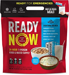 Augason Farms Ready Now Emergency Food Supply with Farmhouse Potatoes | Includes Emergency Water and Utensils | Prep-in-Pouch Meals | Camping Mess Kit | 25-Year Shelf Life