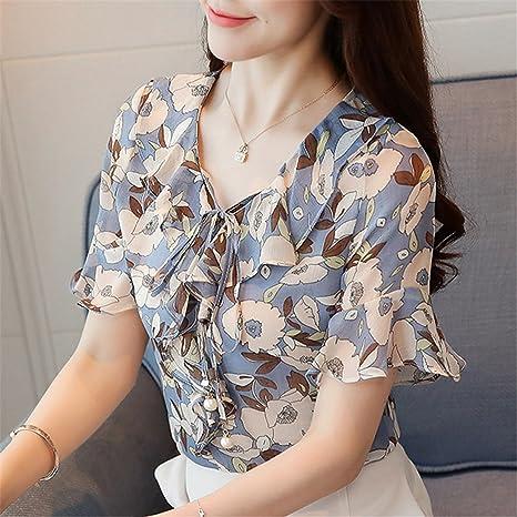 Li-Never Women Summer Chiffon Tops Printed Shirt Bow Flare Sleeve Blouse Ruffle Floral Blusas at Amazon Womens Clothing store: