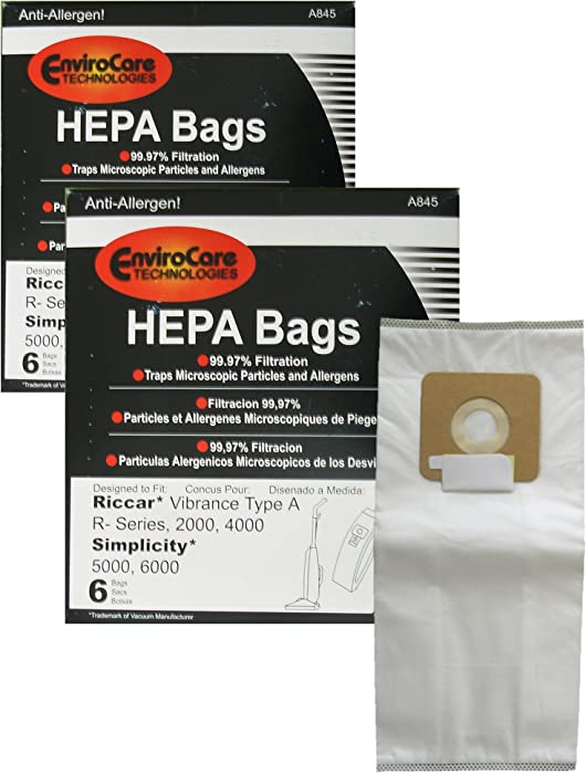 EnviroCare Replacement HEPA Vacuum Bags for Riccar 2000, 4000 and Vibrance Series. Simplicity 5000, 6000 and Symmetry Type A 12 pack
