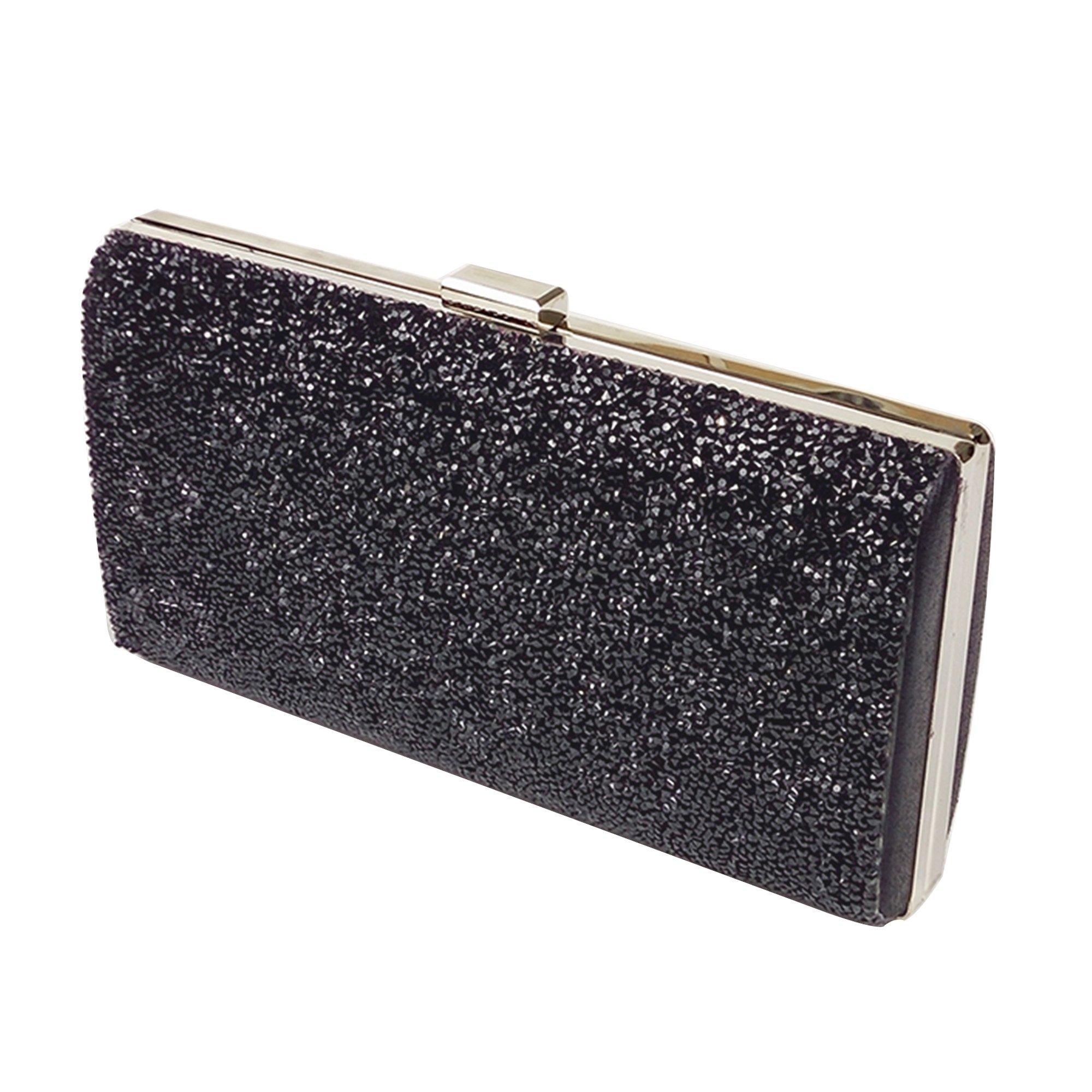 ChilMo Ladies Rhinestone Clutch Purse, Sparkling Evening Handbags For Wedding Prom Bride,Black
