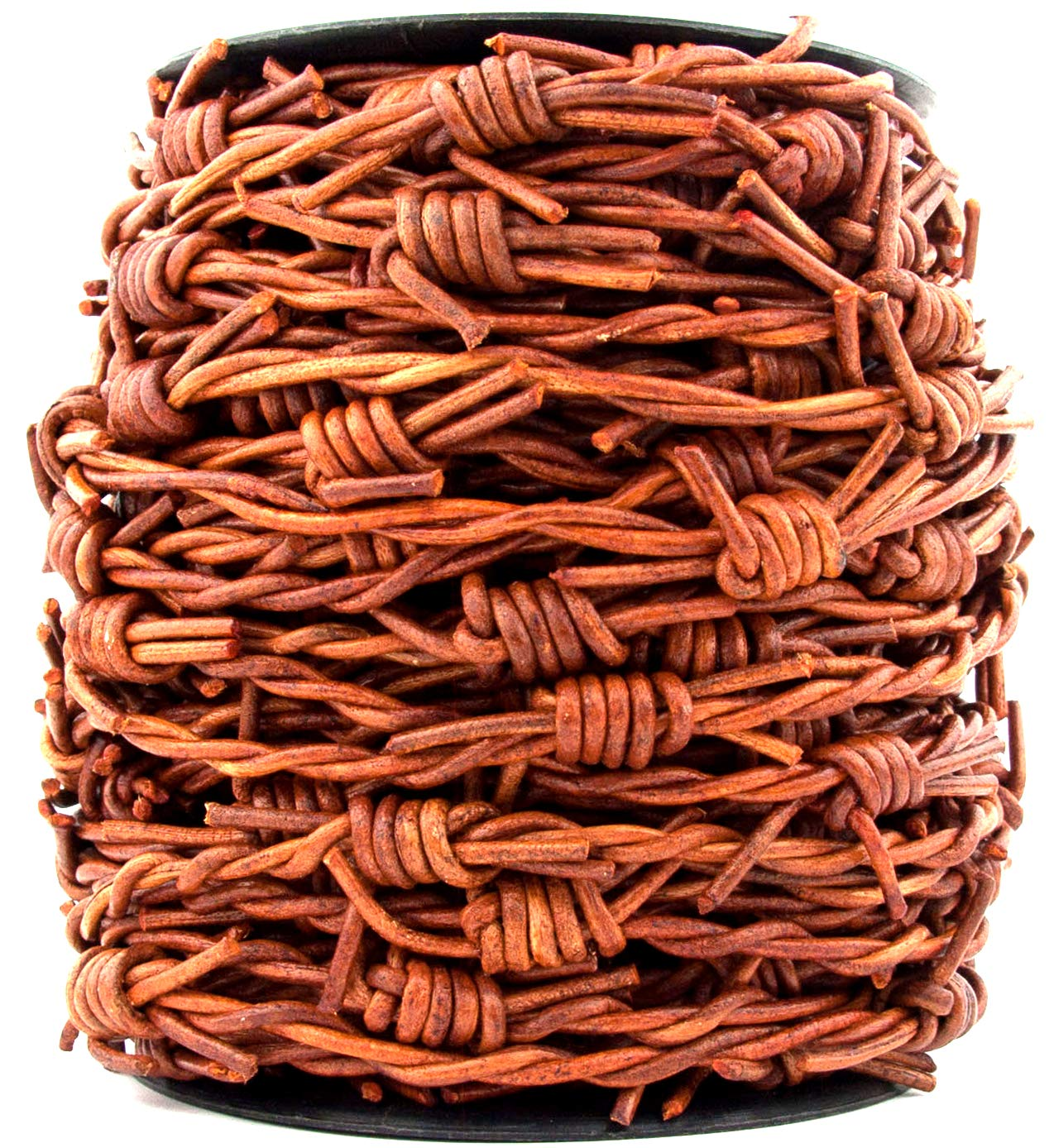 Xsotica-Barbed Wire Leather Cord 1 Yard Distressed Brown