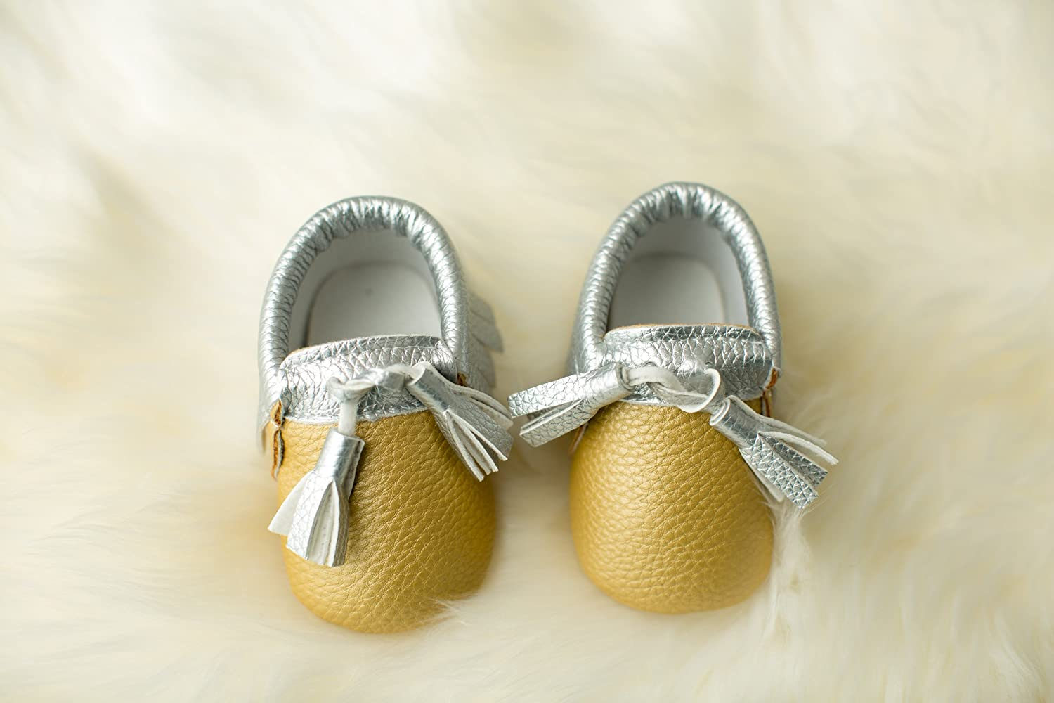 Made from Vegan Leather Material by Perfect Present for Baby Shower Lilac /& Lavender Tasseled Baby Moccasins with Soft Soles Lightweight Shoes for Baby and Toddler