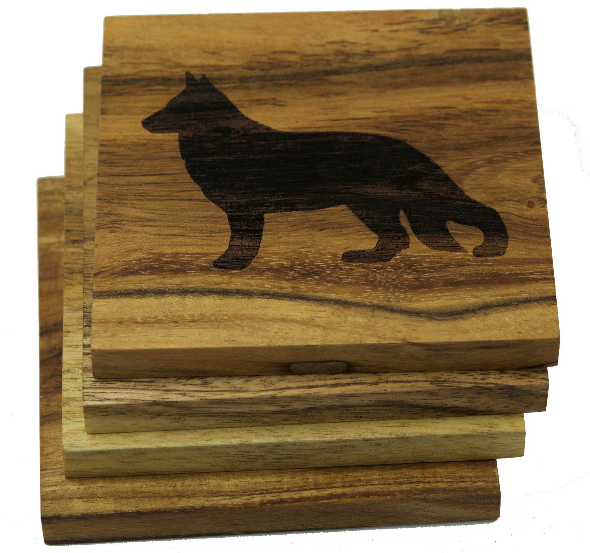 German Shepherd (10+ Dog Breeds Available to Choose From) Drink Coasters Engraved Acacia Wood Design - Set of Four