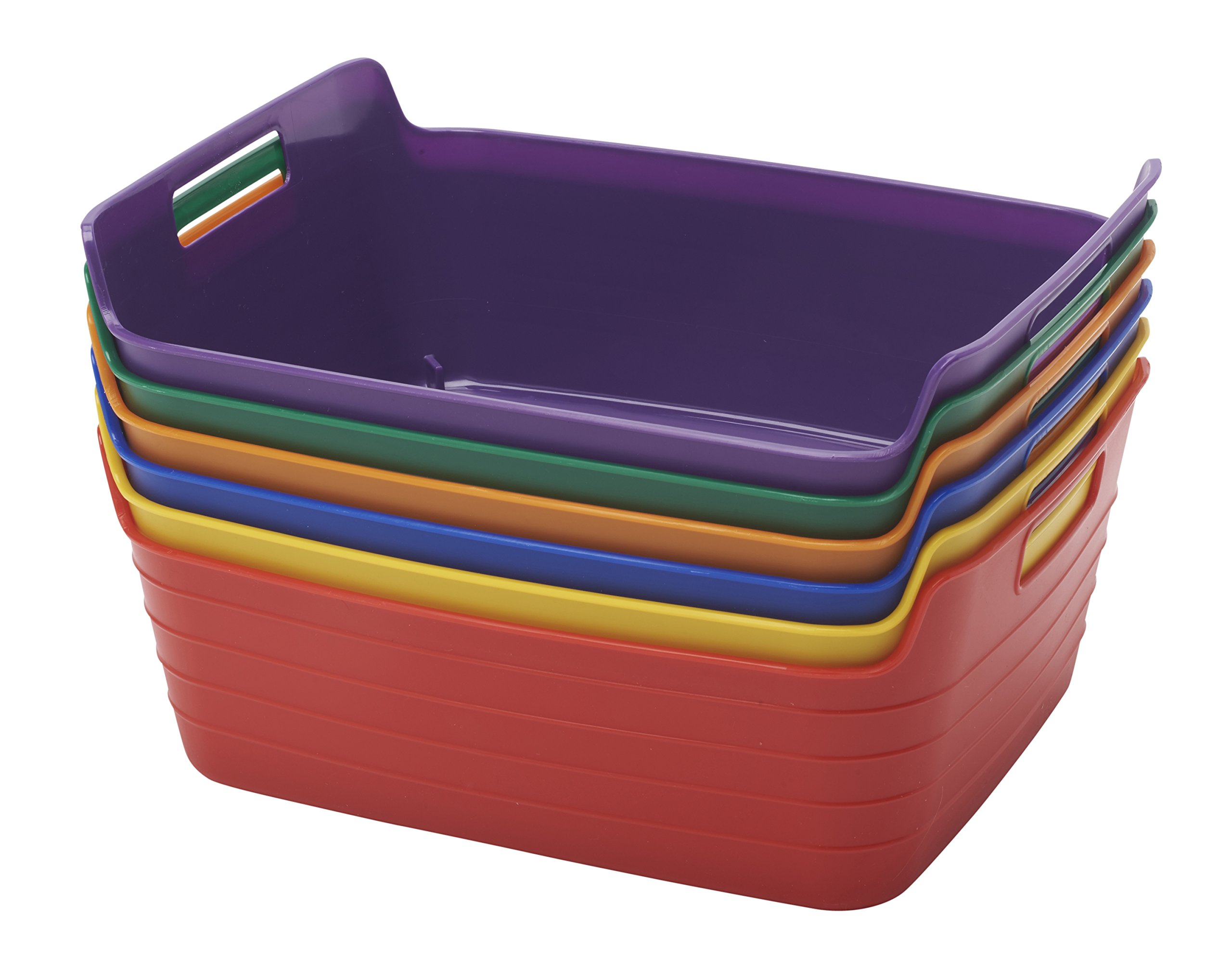 ECR4Kids Assorted Medium Bendi-Bins with Handles, Stackable Plastic Storage Bins for Toys and More, Assorted Colors (6-Pack)