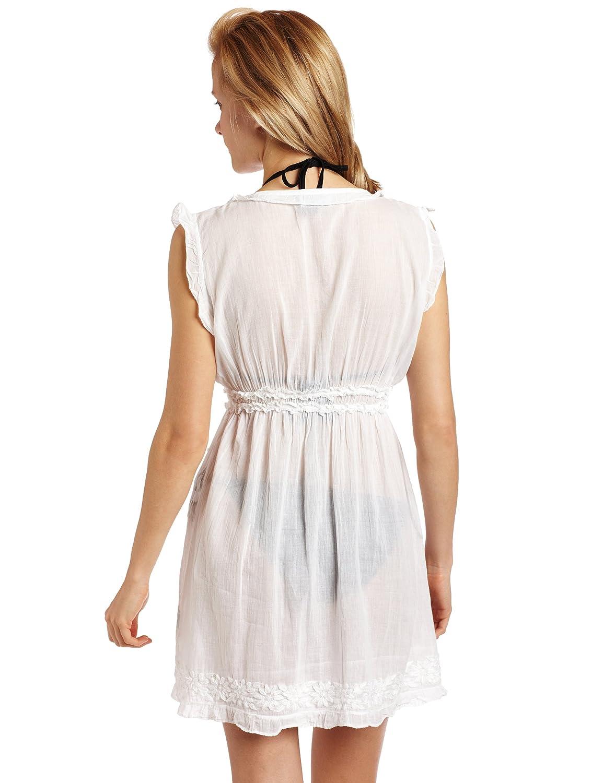071bd202b44ee Letarte Women's Popcorn Embroidered Sleeveless Tunic, White, Medium at  Amazon Women's Clothing store: Fashion Swimwear Cover Ups