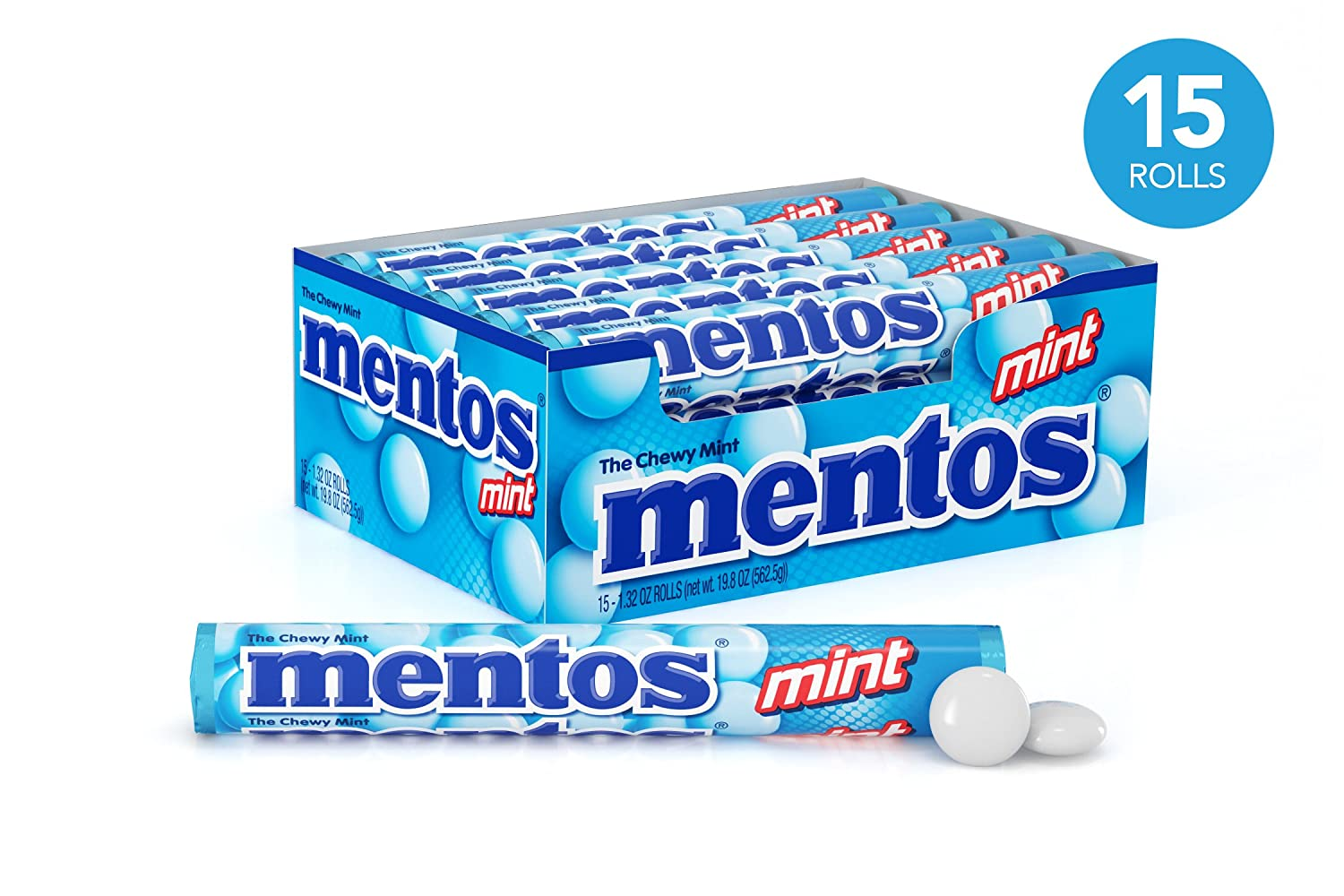 Mentos Chewy Mint Candy Roll, Mint, Party, Non Melting, 1 32 Ounce/14  Pieces (Pack of 15) - Packaging