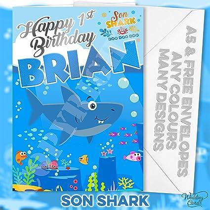 Tarjeta de cumpleaños para bebé con diseño de tiburón y ...