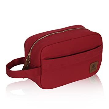 Amazon.com   Veegul Canvas Dopp Kits Travel Accessories Bag with Soft  Lining Red   Beauty 16d7f96456