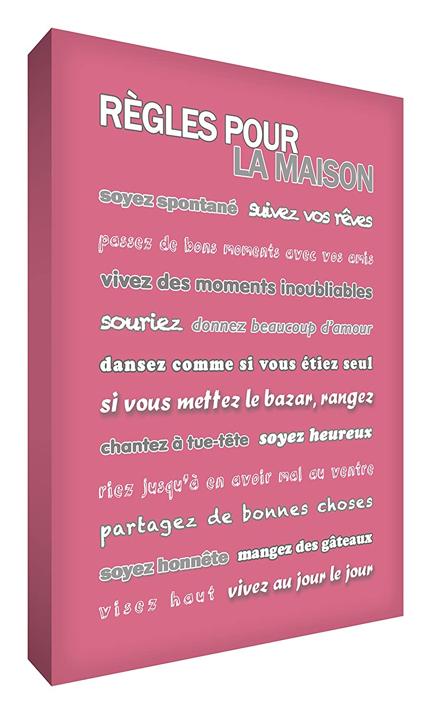 Little Helper Feel Good Art Leinwand auf Rahmen Wandtattoo modernen Stil-Regel unseres Hauses Vintage Rosa 91 x