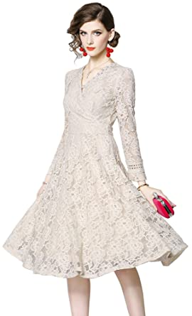 0c5324534ea2f LUOAIYI Women's Elegant V-Neck Long Sleeve Full Floral Lace A-Line ...