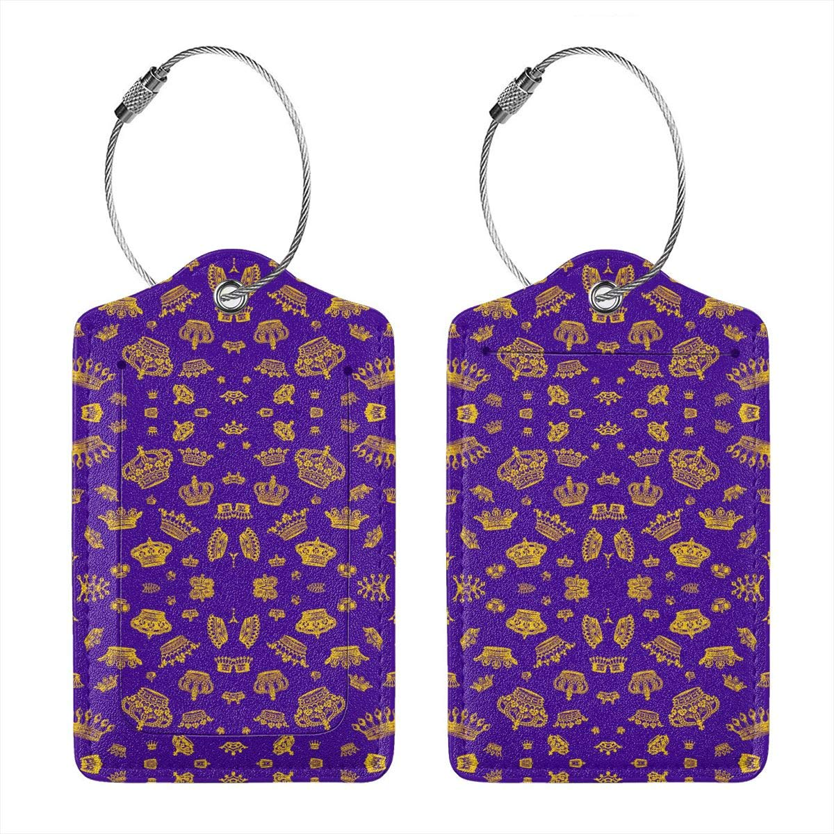 Royal Crowns Gold On Purple Leather Luggage Tags Personalized Travel Accessories With Adjustable Strap