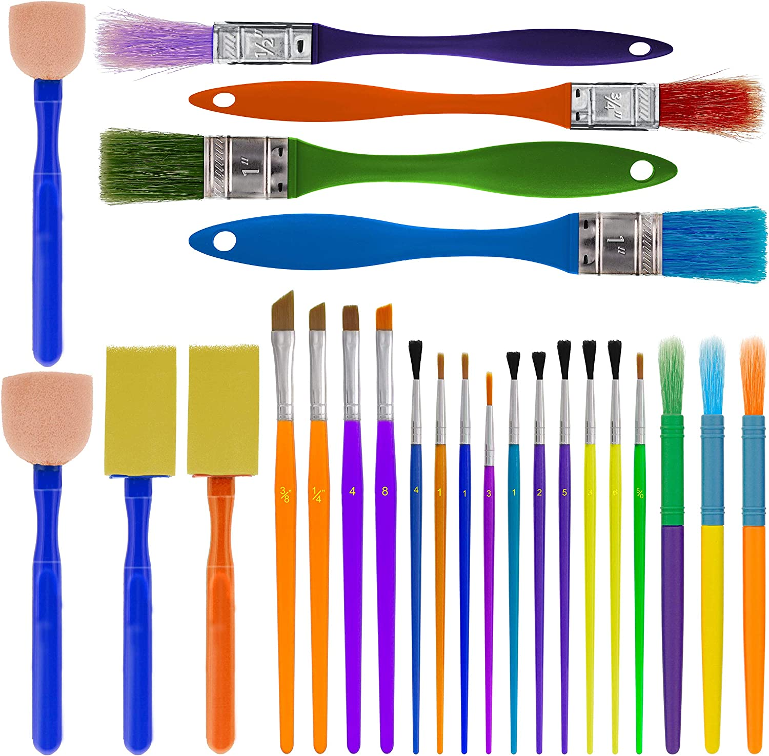U.S. Art Supply 25-Piece Children's All Purpose Paint Brush Set - Artist Variety Value Pack, 6 Types, Flat, Round, Chip, Mop, Foam Tipped Brushes - Fun Kid's Party, School Student Class Craft Painting