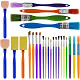U.S. Art Supply 25-Piece Children's All Purpose Paint Brush Set - Artist Variety Value Pack, 6 Types, Flat, Round, Chip, Mop,