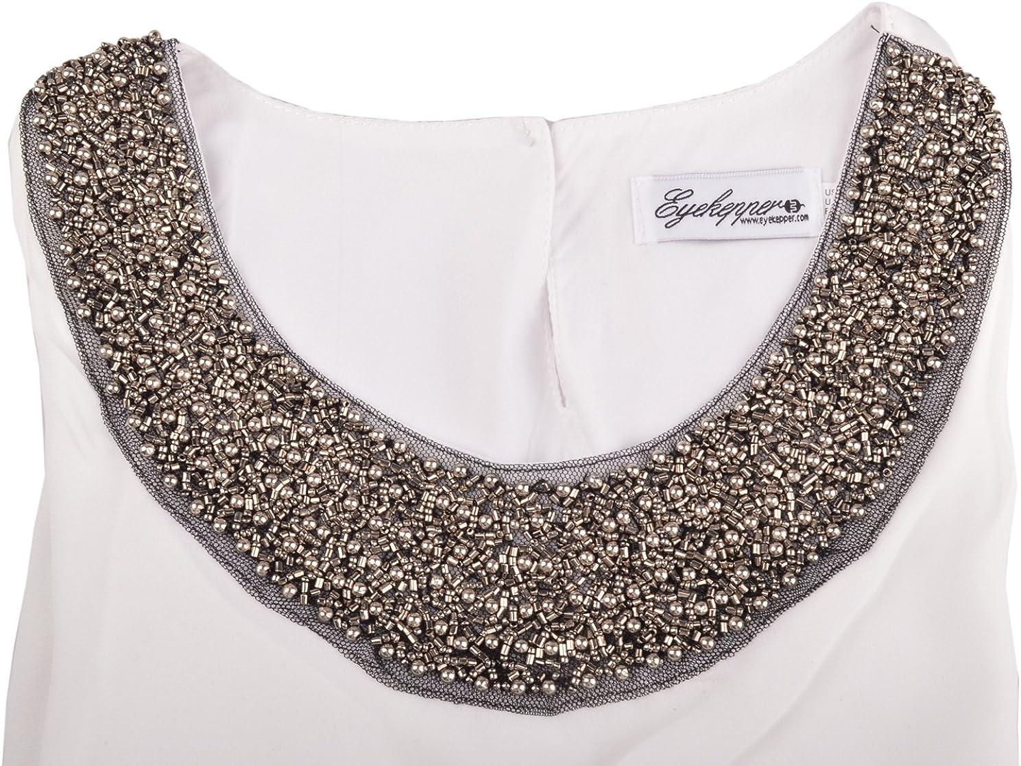Eyekepper Embellished Bead Collar Ruffle Shoulder Tops T-Shirts Blouse