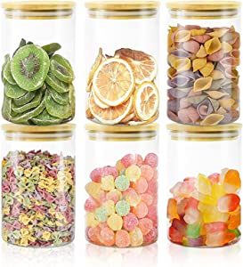 Glass Jars with Bamboo Lids, Glass Food Storage Containers Set for Home Kitchen Pasta, Cereal, Oatmeal, Beans, Rice, Nuts, Coffee, 6 Pack of 27oz