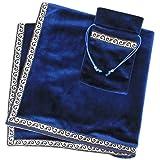 INIBUD タロットクロス ベルベット タロットカード用 ポーチ付 65×65cm 占い 高級 厚手(ブルー)