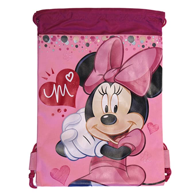 Amazon.com: Rosa Minnie Mouse Cordón Mochila – Drawsting ...