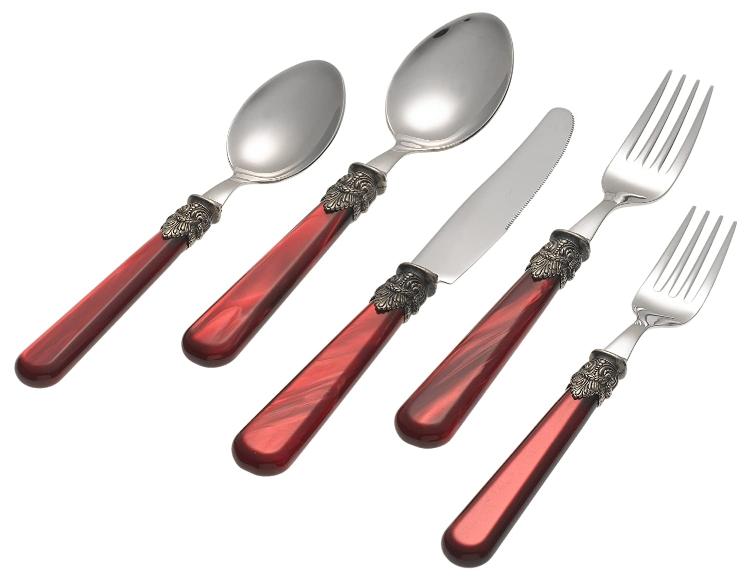 Pearlized Red Napoleon 5-Pc Flatware Place Setting
