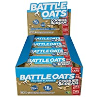 Battle Oats High Protein Gluten Free Flapjacks Protein Bar, New Low Sugar Formula, 12 x 70g - Cookies and Cream