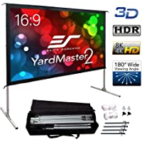 "Elite Screens Yard Master 2, 90 inch Outdoor Projector Screen with Stand 16:9, 8K 4K Ultra HD 3D Fast Folding Portable Movie Theater Cinema 90"" Indoor Foldable Easy Snap Projection Screen, OMS90H2"