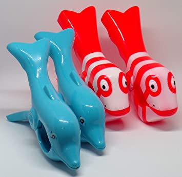 Toalla de playa Clips Boca estilo 2 Pares pez payaso y delfin: Amazon.es: Jardín
