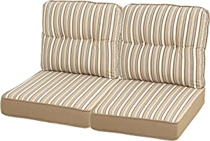 "Quality Outdoor Living 29-BS04LV Loveseat Cushion, 46"" Width by 26"" Depth, Beige Stripe"