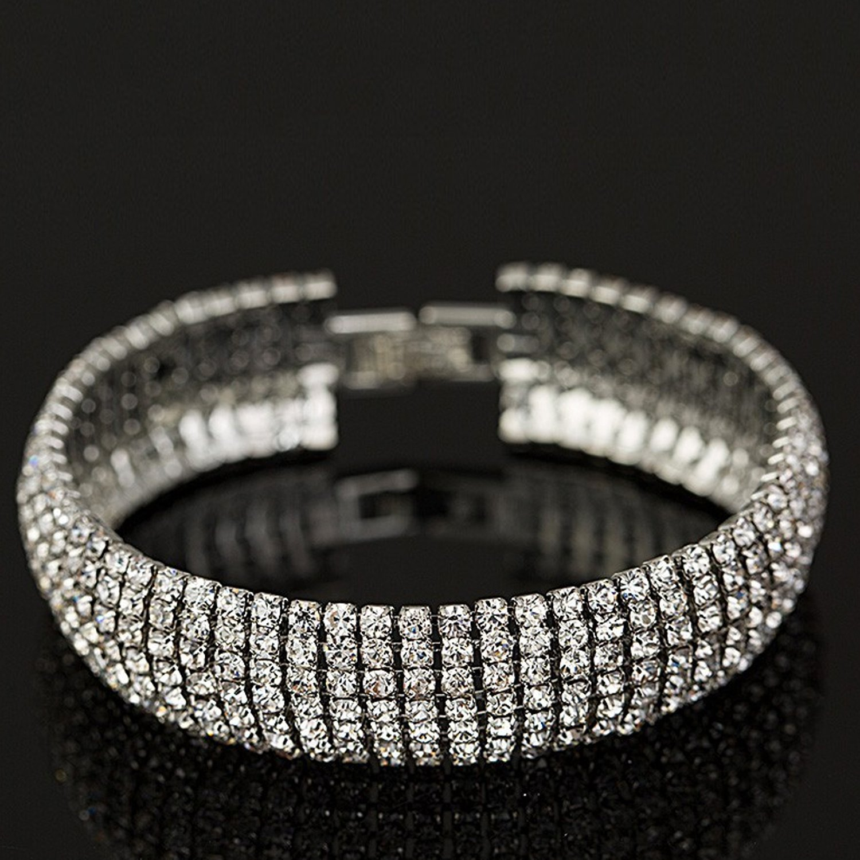 Crystal 6 Row Rhinestone Tennis Bracelet w/ Toggle Clasp - Silver Plated by Foxy Lady Jewelry (Image #4)