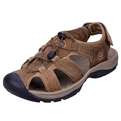 WhiFan Herren Outdoor Sandalen Sport Wandern Sandalen Schnell Trocken Toecap Sommer Baotou Schuhe Braun aYUqM