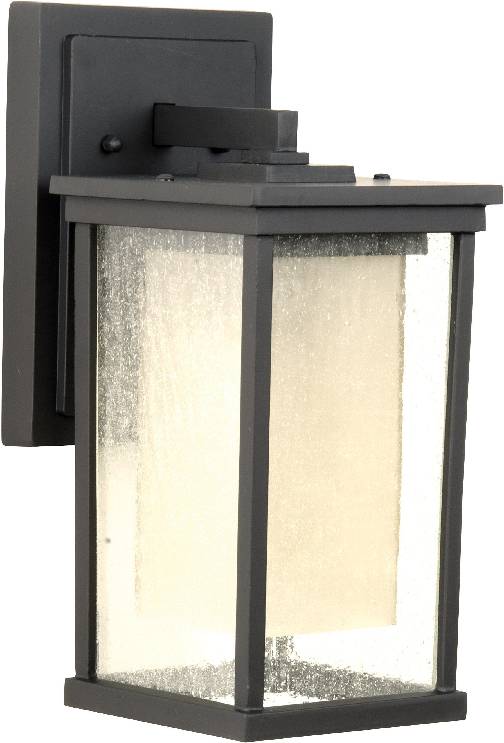 Craftmade Z3714-92-NRG Wall Lantern with Clear Seeded Outer and Frosted Amber Inner Glass Shades, Oiled Bronze Finish