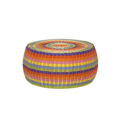 Household Essentials ML-5006 Colorful Indoor Outdoor Resin Wicker Foot Stool Ottoman Storage Basket, Rainbow: Home & Kitchen