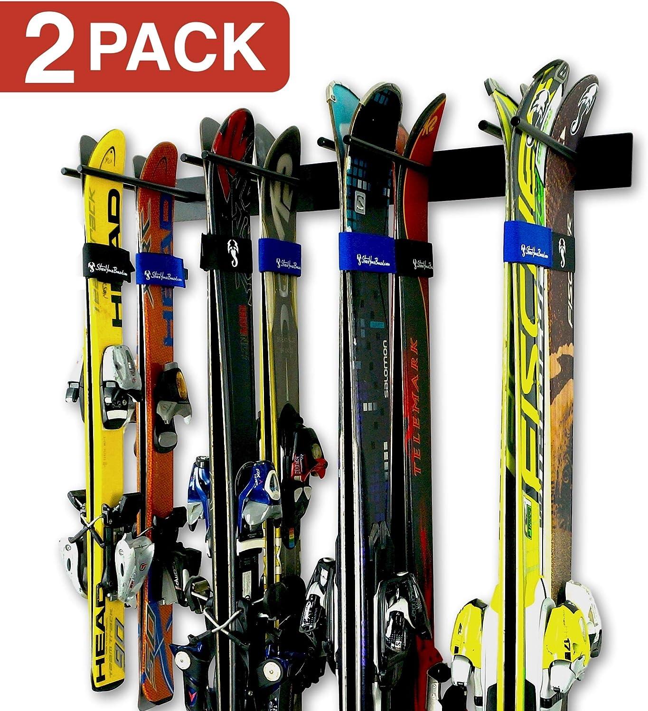 StoreYourBoard Portaesquís de Pared para esquís, Paquete de 2 para 16 Pares, Soporte para esquís de Acero para Casas y garajes: Amazon.es: Deportes y aire libre