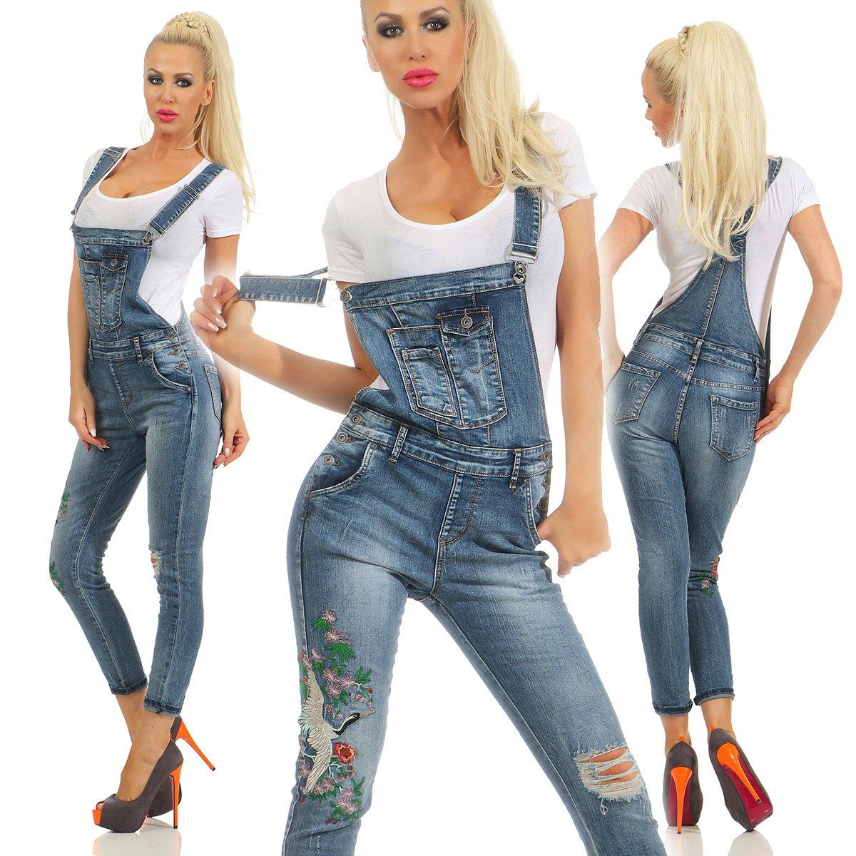 Fashion4Young 5193 Damen Jeans Latzhose Röhrenjeans Latzjeans Damenlatzhose Boho Slimline Slim fit