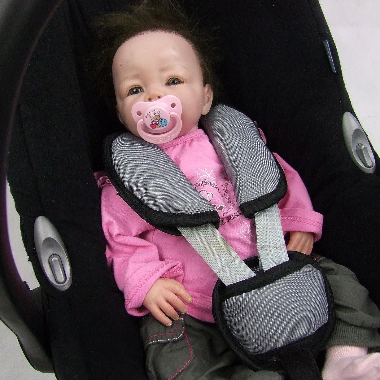grau dunkel BambiniWelt UNIVERSAL 3tlg Babyschalen Gruppe0 Schrittpolster f/ür Maxi-Cosi R/ÖMER SET Gurtpolster