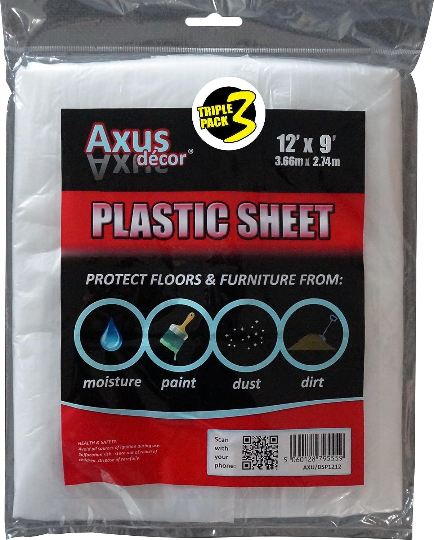 12 x 9 Colourless Axus Decor AXU//DSP129 Polythene Dust Sheet Triple Pack Set of 3 Pieces 3.66m x 2.74m