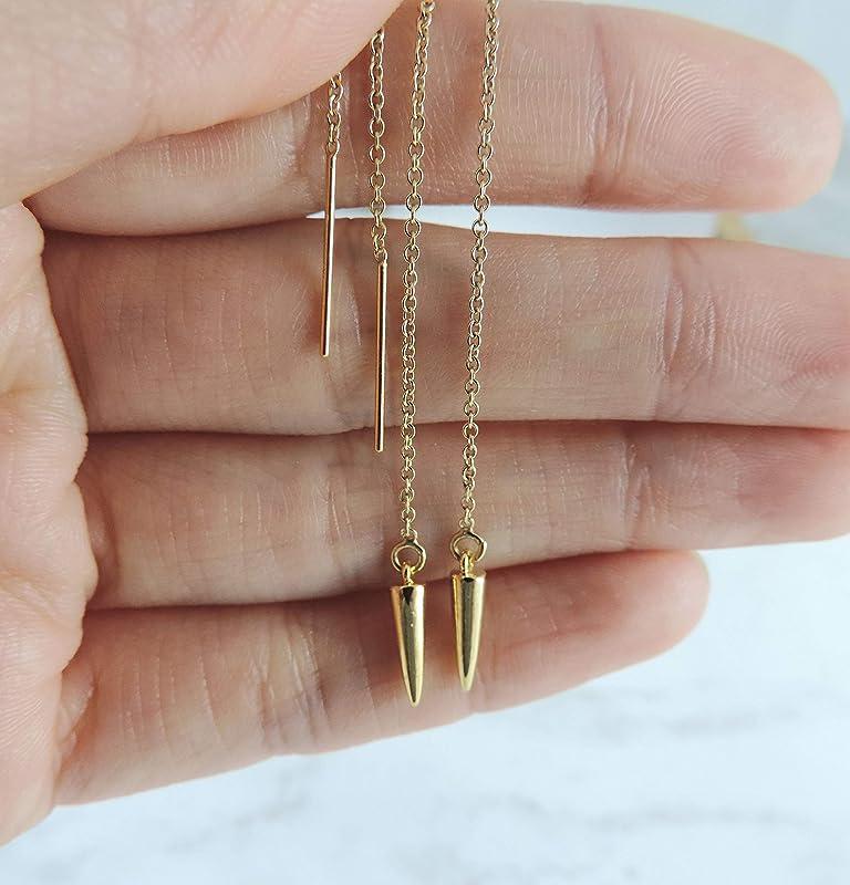 Wire Pull Through Earrings 925 Sterling Silver Gold and Silver threader earring-Bar earring-Long chain earrings Dangle earring